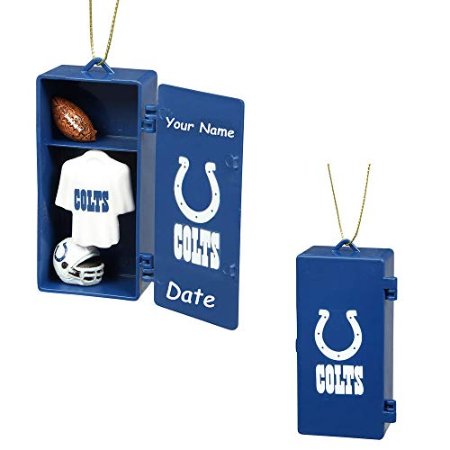 - LTD Commodities Personalized NFL Indianapolis Colts Football Team Locker with Helmet and Jersey Hanging Christmas Ornament Decoration with Custom Name and Date (Optional)