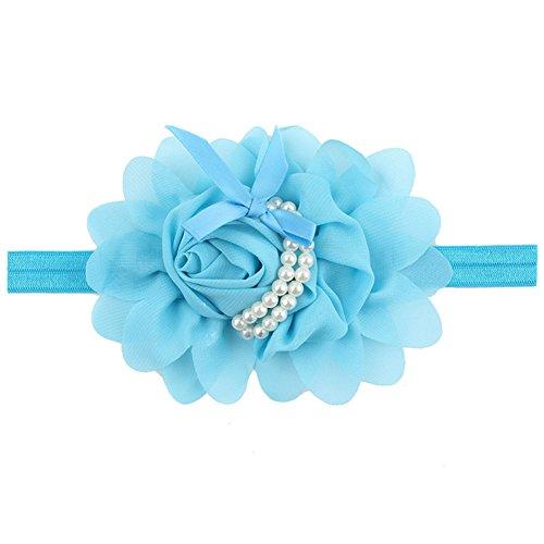 Children Baby Girl Fashionable Cute Rose Flower Pearl Hair Hoops Lovely Soft Headbands Pretty Headdress - Pearl Meridian Blue
