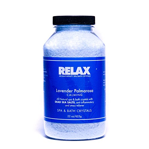 Lavender Palmarosa Best Aromatherapy Bath Salts, 22 Ounce Bottle, Natural Calming Aroma Therapy Dead Sea Salts for Aches, Pains, and Sore Muscles. Relaxing Soak for Tubs, Spas, and Whirlpools ()