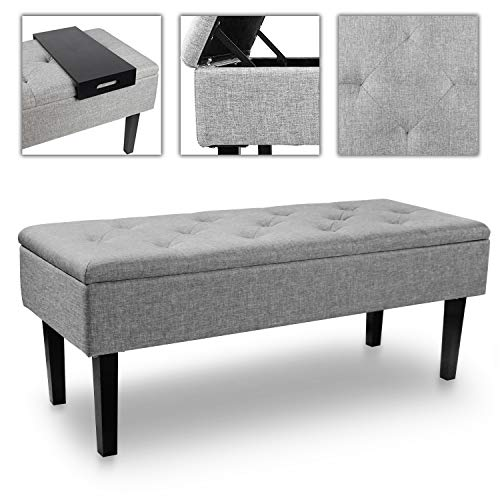 SCYL Color Your Life Rectangular Linen Storage Ottoman Bench Tufted Footrest w/Hinged Lid,43''(L) ×17''(W) ×17''(H) (Grey)