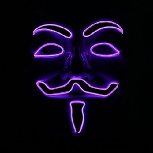El Wire Rave LED Mask Light up Guy Fawkes Anonymous V for Vendetta Mask (Purple) for $<!--$49.99-->