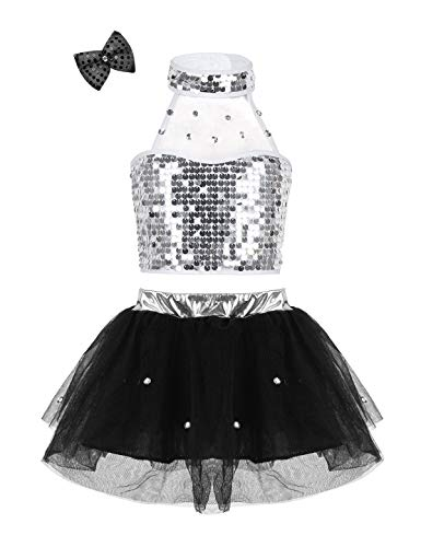 YiZYiF Children Girls' Sequin Ballet Tutu Dresses 3-Piece Modern Jazz Hip-Hop Dancewear Stage Performance Costumes Set Black 8-10 ()