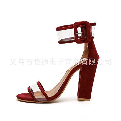 zapatos sandalias Donyyyy Thirty seven mujeres tacones de y altos las áspero tacón de wqrXaF0q