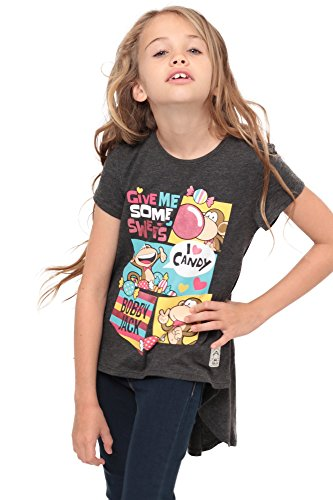 Bobby Jack I Love Candy | Hi-Low Ruffle Back Top - Charcoal