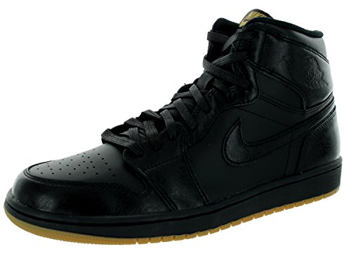 Nike Men's Air Jordan 1 Retro High OG Basketball Shoe Black/Black Gum Light Brown Basketball Shoe 9.5 Men US
