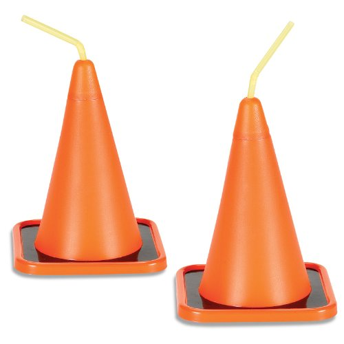 Construction Party Supplies - Traffic Cone Sippy Cups (8) (Handy Manny Birthday Supplies compare prices)