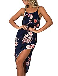INIBUD Summer Dresses for Women Strappy Cami Long Dress 2 Side Split
