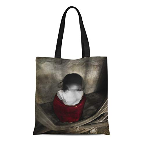 Semtomn Canvas Bag Resuable Tote Grocery Adorable Shopping Portablebags Horror Ghost Girl in White Dress and Red Scarf with No Face House Black Creepy Natural 14 x 16 Inches Canvas Cloth Tote Bag ()