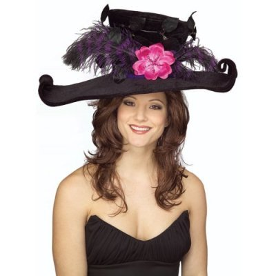 Black-Victorian-Hat-with-Plumes-Flower