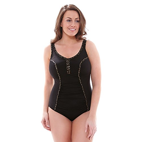 Elomi 7421 Wild Thing Soft Cup Non Wired Support Swimming Costume Swimsuit Black 2XL