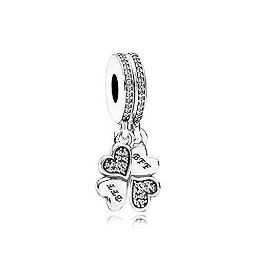 Romántico Amor Lucky Clover Silver Dangle Charms Best Friend BFF Clear CZ Fit Pandora Bracelet (Sterling Silver Best Friend Charms)