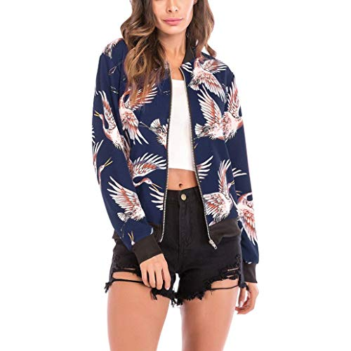 Rambling New Women's Bird Print Bomber Jacket Stand Collar Full Zip up Long Sleeve Crane Printed Coat -
