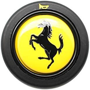 ELETTRO Steering Wheel Horn Push Button With Ferrari Crest Yellow Trumpet 58mm