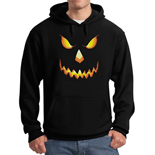 Halloween Scary Pumpkin Face Men's Hoodie XX-Large Black