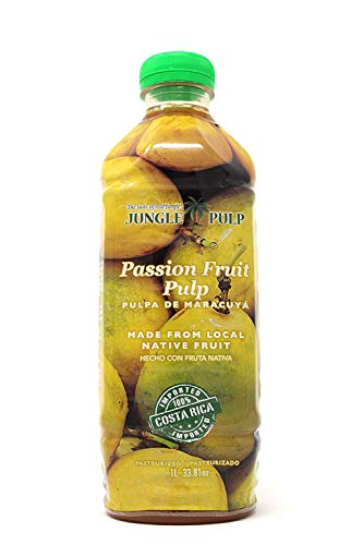 (Jungle Pulp PASSION FRUIT Puree Mix Pasteurized Fruit from Costa Rica Perfect for Cocktails, Desserts, Smoothies and More. 33.81 Ounce / 1)