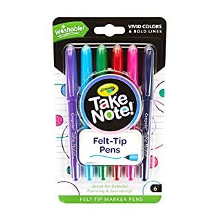 Crayola Take Note Felt Tip Pens, Assorted Colors, School Supplies, At Home Crafts for Kids, 6 Count