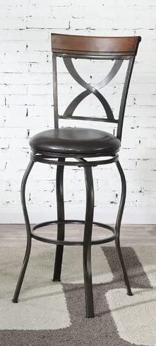Poundex Bobkona Daisy Set of Two 29 Seat Height Swivel bar Stool, Dark Brown
