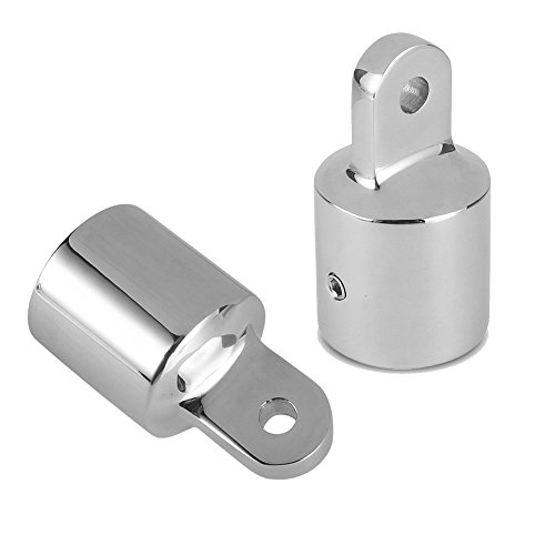 Amadget 2 PCS Bimini Top Caps Tube, Eye End Top Fitting Marine 316 Stainless Steel Bimini Canopy Hardware, 7/8