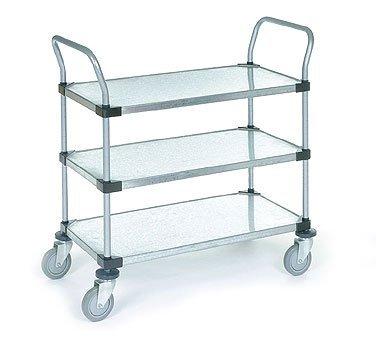 Nexel 3 Solid Shelves Utility Cart, Galvanized Steel, 24