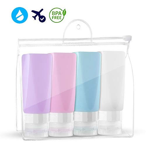 17db8e173aab Travel Bottles Set, Leakproof Silicone Travel Containers,Squeezable ...