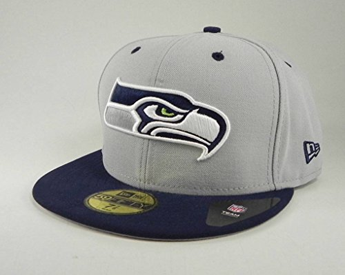 NFL Seattle Seahawks Two Tone 59Fifty Fitted Cap, Gray/Blue, 7 5/8