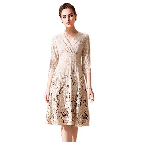 Cotylédons Robes Swing Pour Les Femmes V Cou Manches 3/4 Taille Haute Beige Courte Robe Brodée