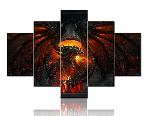 TUMOVO Contemporary Wall Art Fire Medieval Dragon Pictures Deathwing Artwork for Living Room Multi Panel Prints Canvas Paintings House Decor Framed Gallery-Wrapped Ready to Hang(60''Wx40''H) ()