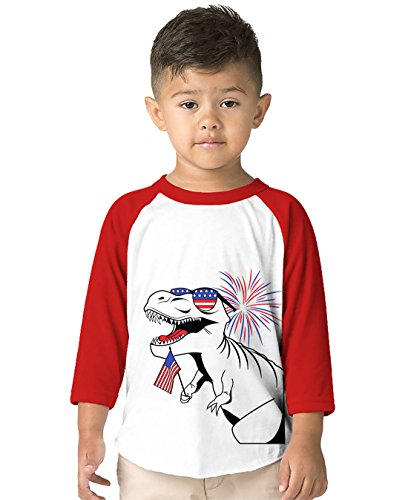 Womens All Raglan Rib Star - SpiritForged Apparel American T-Rex Toddler 3/4 Raglan Shirt, Red 4T