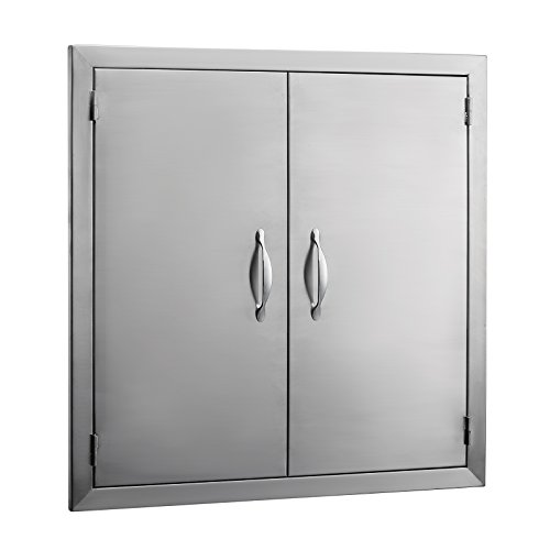 Mophorn Double Wall BBQ Access Door Cutout 24Width x 24Height BBQ Island Door Brushed Stainless Steel Perfect for Outdoor Kitchen or BBQ Island (Made Bbq Ready Islands)