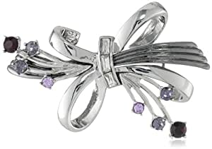 """Anne Klein """"Holiday Pins"""" Silver-Tone and Tanzanite Colored Ribbon Pin"""