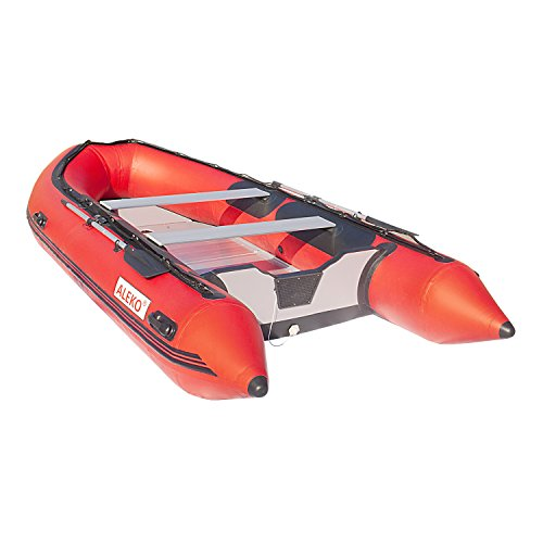 ALEKO® 13.8 Ft Red Inflatable Boat with Aluminum Floor Heavy Duty Design 7 Person Raft Sport Motor Fishing Boat 4+Keel Air Chambers