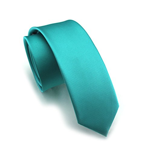 Elviros Mens Eco-friendly Fashion Solid Color Slim Tie 2.4'' (6cm) Teal Green