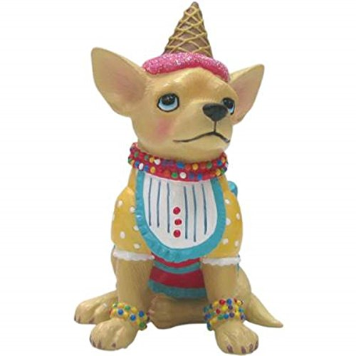 WL SS-WL-13686, 2.75 Inch Ice Cream Decorated Tan Chihuahua Mini Figurine Statue, 2.75""