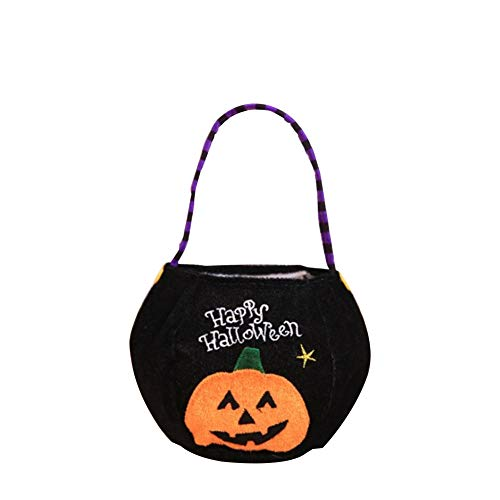 Halloween Trick or Treat Drawstring Bags Portable Gift Candy Holders Non-woven Reusable Tote Bags for Kids or Costume Party Favors Supplies(#C Black, Pumpkin)