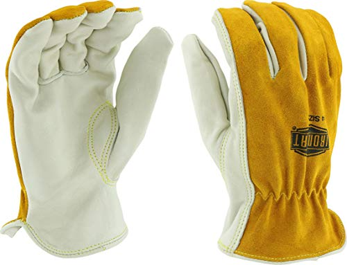 - West Chester IRONCAT 9414 Premium Grain/Split Cowhide Leather Driver Work Gloves: Tan/Grey, XX-Large, 1 Pair