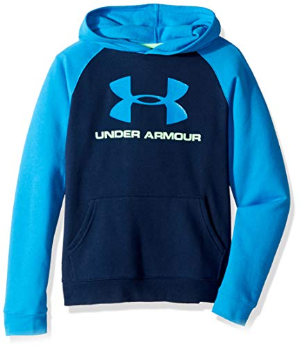 Logo Hoodie Top - Under Armour Boys Rival Logo Hoodie, Academy (408)/Blue Circuit, Youth Medium