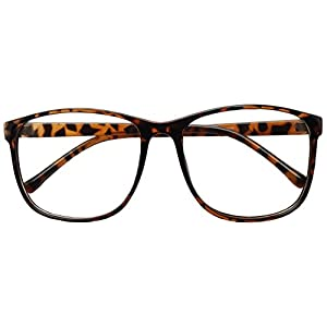 Large 55mm Nerdy Thin Plastic Non Prescription Clear Lens Fashion Eye Glasses Single & 2 Pack (Tortoise, 55)