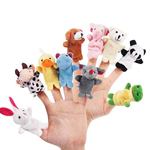 (CARESHINE 10PCS Animals Finger Puppet Toy Plush Toys Kids Toy Elephant, Rabbit, Duck, Cow, Dog, Panda, Bear, Mouse, Frog, Hippos)
