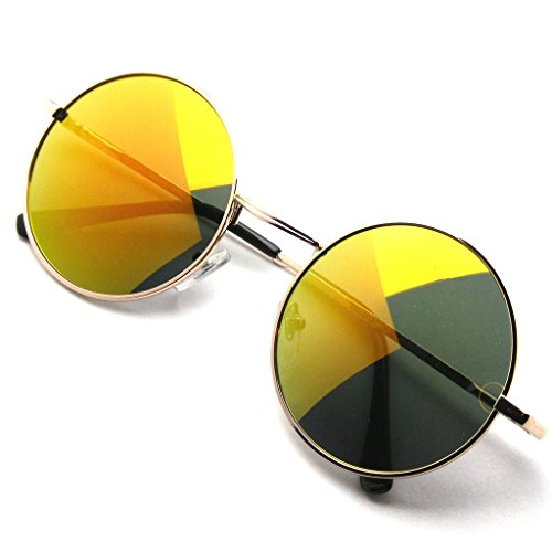 John Lennon Sunglasses Round Shades Gold Frame Mirror Lenses Retro (Orange Ice, - Orange Sunglasses Reflective