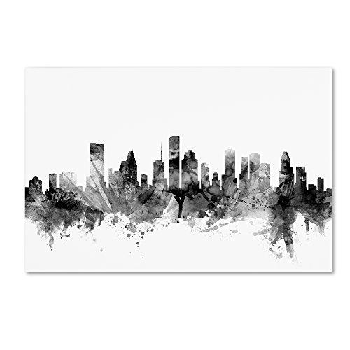 Houston Texas Skyline B&W by Michael Tompsett, 12x19-Inch Canvas Wall Art