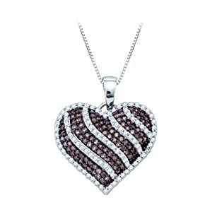 Cognac and Diamond Heart Pendant with Chain in 10K Yellow Gold (1 cttw)