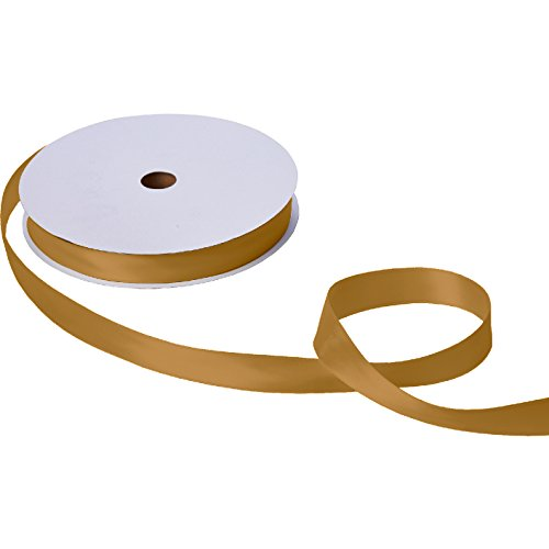 Double Satin Bow (Jillson Roberts Bulk 1-Inch Double Faced Satin Ribbon Available in 20 Colors, Gold, 100 Yard Spool (BFR1015))
