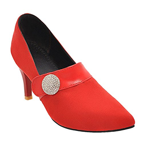 Shoes Pumps Rhinestone Pointed Charm Womens Foot Toe Heel High Red ZPFAHq