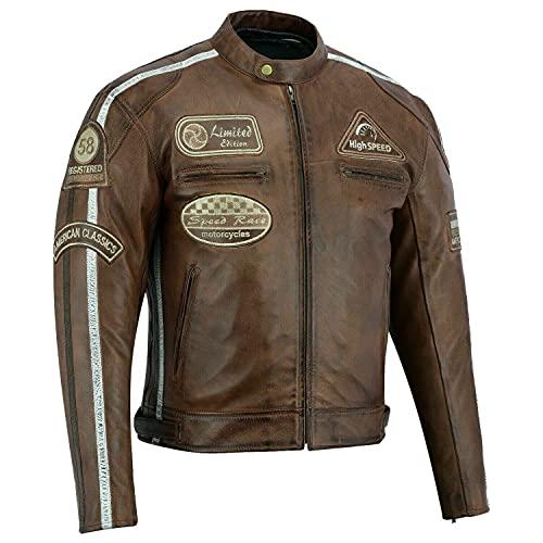 BOSmoto Herren Retro Biker Lederjacke Motorrad Jacke Race Streifen Rockerjacke Chopper