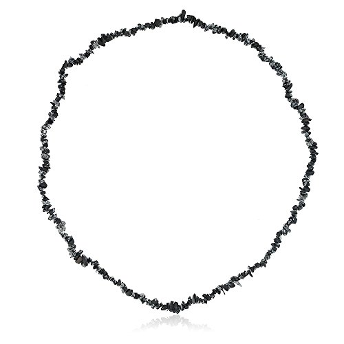 Gem Stone King 32 Inch Black Obsidian Chip Necklace 260.00 Carat