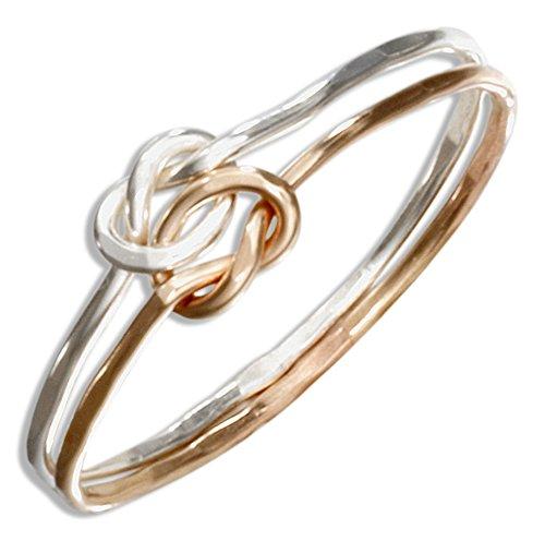 de de con amor y de doble nudo rosca anillo 12 Plata esterlina oro quilates de Iqw7f88t