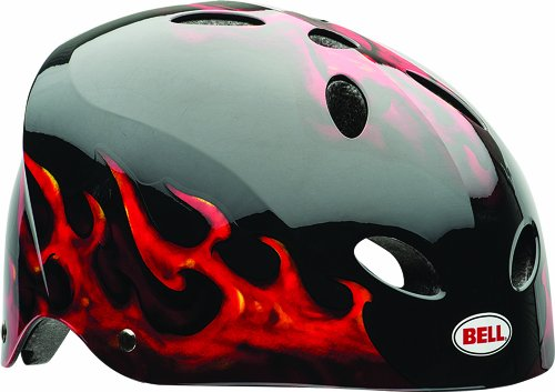 Bell Sports Black Multi Sport Helmet - Bell Youth Wicked Flame Multi-Sport Helmet, Gloss Black Fire