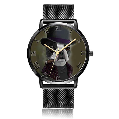 Whiterbunny Customized Bowler Hat Terrier with Cigar Wrist Watch Unisex Analog Quartz Fashion Black Steel Bracelet Wristwatch for Women and Men