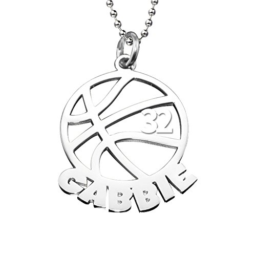 (Ouslier 925 Sterling Silver Personalized Unisex Men Cut Out Basketball Name Necklace Pendant with Number (Silver))
