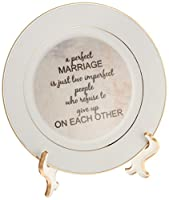 3dRose cp_180092_1 a Perfect Marriage, Black Lettering on Picture of Marble Print Background Porcelain Plate, 8""